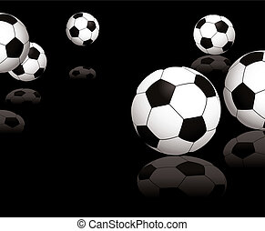 football reflect black - Collection of footballs on a black...
