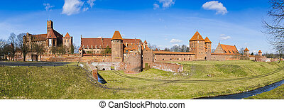 panorama malbork castle in poland - panorama landscape with...