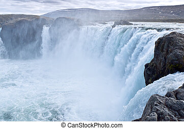 Icelandic waterfall Godafoss - Godafoss waterfall in the...