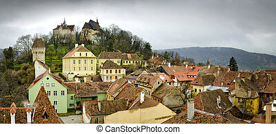 Sighisoara, medieval town in Transylvania - Panorama on a...