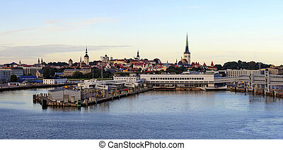 Tallinn panorama at dawn - beautiful panorama of Tallinn and...