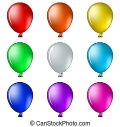 Balloons - Set of isolated on white balloons all colours of...