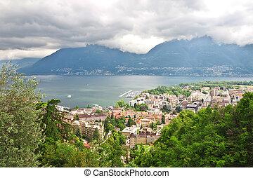 Panoramic views of Locarno. Switzerland. Europe.