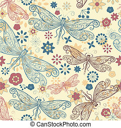 vector seamless pattern with  dragonflies and flowers