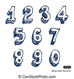 Hand-drawn numbers. Hand drawn vector isolated on white