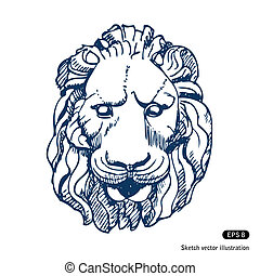 Lion's head. Hand drawn vector isolated on white