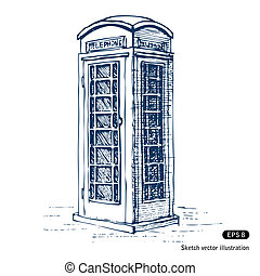 London pay phone. Hand drawn vector isolated on white