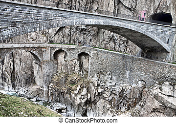 Devils bridge at St Gotthard pass, Switzerland Alps Europe...