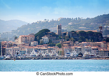 Cannes old town - General view of the harbour and old town...