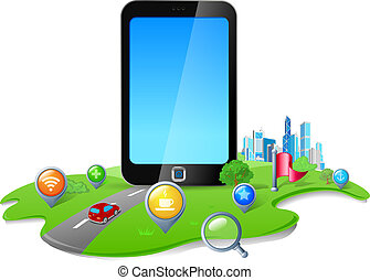 Smartphone blank screen concept - Touch screen phone GPS...