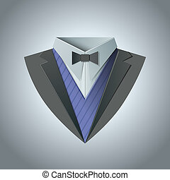 Luxury tuxedo. Origami Vintage theme. Dinner jacket Classic...