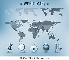 World map vector - World maps collection: political, dotted,...