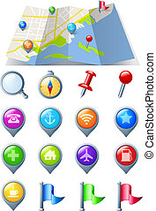 Map with Navigation Icon pack - Abstract Map and Navigation...
