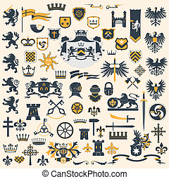 Big vector collection - Heraldic Design Elements
