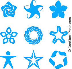 Logo star - Business blue vector abstract logo set. 5 point...