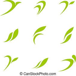 Logo Eco Green - Logo Eco set. Ecology abstract icon...