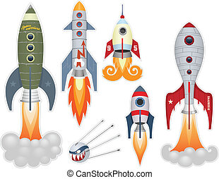 Rocket launch stickers collection