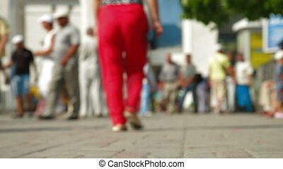 Travelers With Luggage Walking - Group of travelers with...
