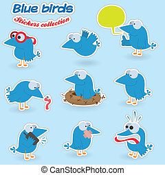 Blue birds (stickers collection)