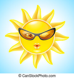Cartoon Sun Characters - Winking Sun with Sunglasses Cool...