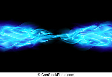 Blue Flame in Space Illustration on Black