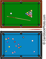 billiard table - The billiard table with a cue and balls...