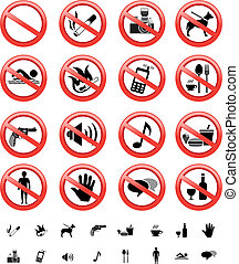 forbidden signs set - The collection of forbidden signs,...
