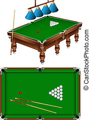 russian billiard - The russian billiard table with a cue,...