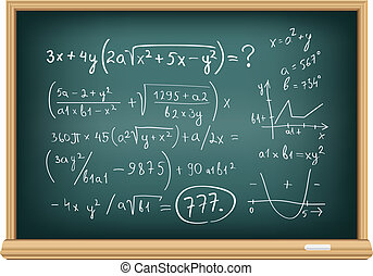 board difficult equations - The blackboard with difficult...