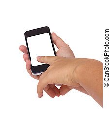 holding and pinting at modern smartphone - hands holding and...