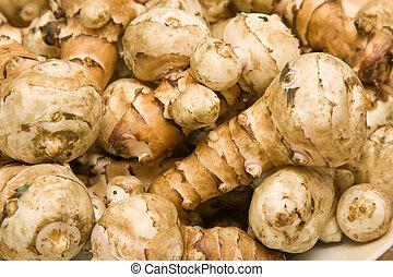 Jerusalem artichoke ( sunroot ) tubers. Helianthus...