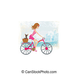 woman riding a bike in the city
