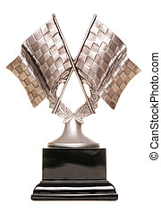 Racing trophy on white background