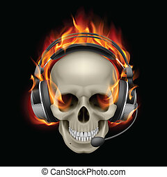 Flaming Skull with headphones. Illustration on black...