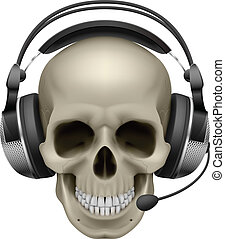 Skull with headphones Illustration on white background