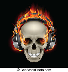 Flaming Skull - Cool Illustration of Flaming Skull Wearing...