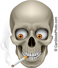 Human Skull with eyes and cigarette Illustration on white...