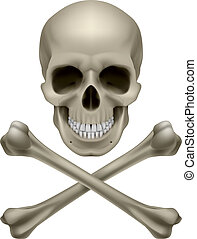 Skull and crossbones Illustration on white background