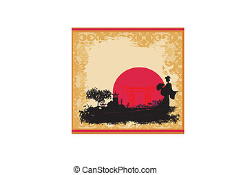 Asian Landscape with geisha - abstract Asian Landscape with...