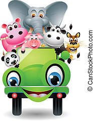 African animals in green car