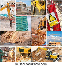 Construction Collage - Digger, Elevator, House Construction,...