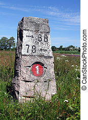Old Granite Milestone Landscape - Old milestone made of...