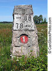 Old Milestone Road 1 - Old milestone made of granite by...
