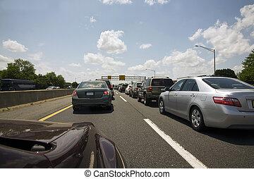 Traffic jam on the motorway.