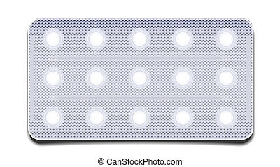 Vector pills in a package isolated on white. Eps 10