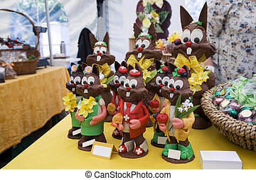 Chocolate Easter bunnies - Chocolate easter bunnies with...