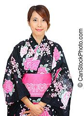 japonés, kimono, mujer