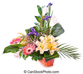 Bright flower bouquet in basket isolated over white...