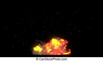 Big explosion with flash and sparks on black Alpha mask HD...