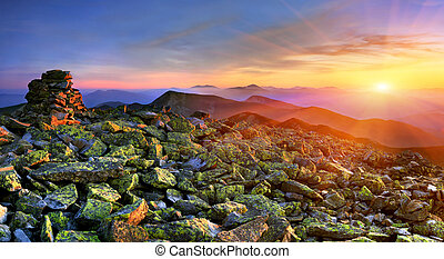 Exotic summer landscape in the Carpathian mountains. Sunset